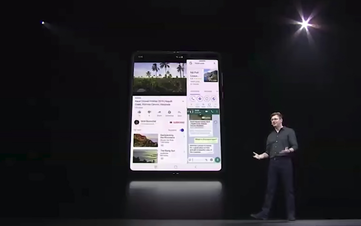 Samsung demonstrated how you could run three apps on the same screen with the Galaxy Fold