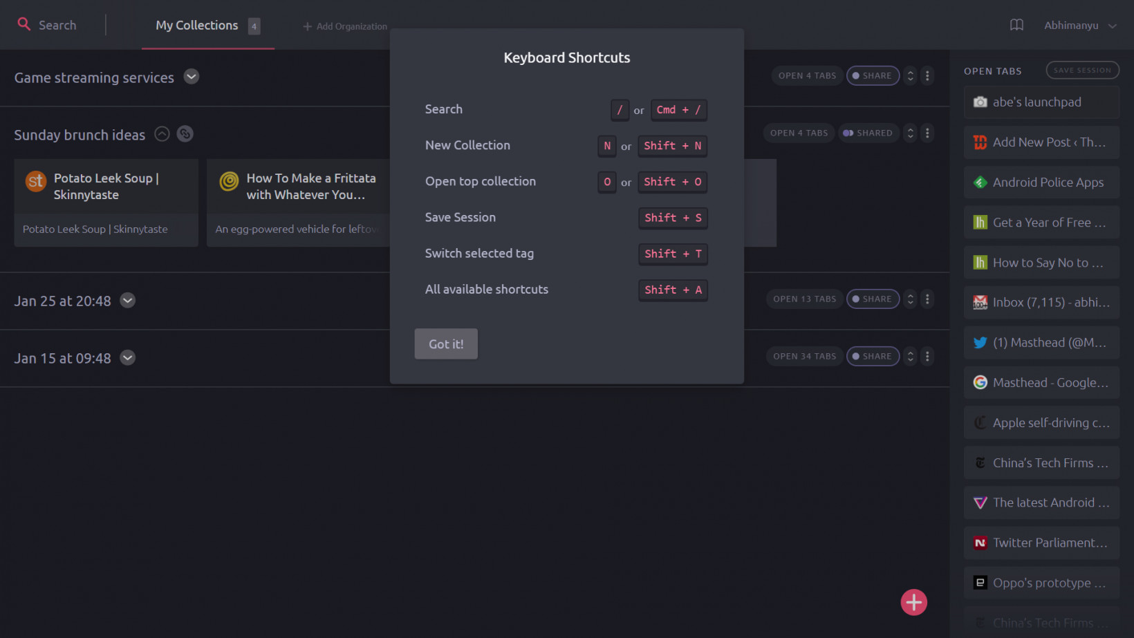 Toby offers a dark theme, as well as handy keyboard shortcuts