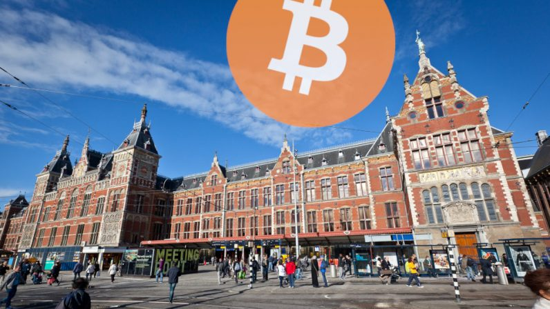 We tagged Amsterdam Central Station with LONG BITCOIN SHORT THE BANKERS