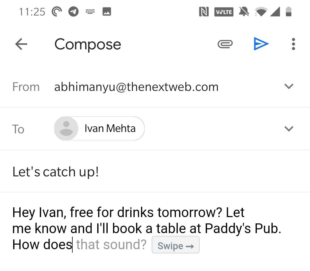 Gmail's Smart Compose in action on Android