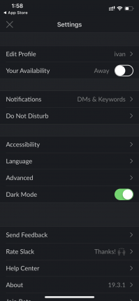 How to turn on Slack's dark mode on iOS and Android