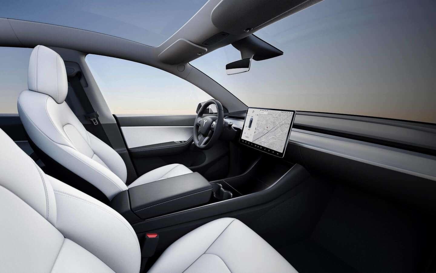Tesla's Model Y sports a spartan dashboard, save for a large touchscreen