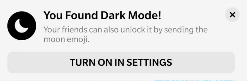 Enable dark mode in Messenger by sending an emoji