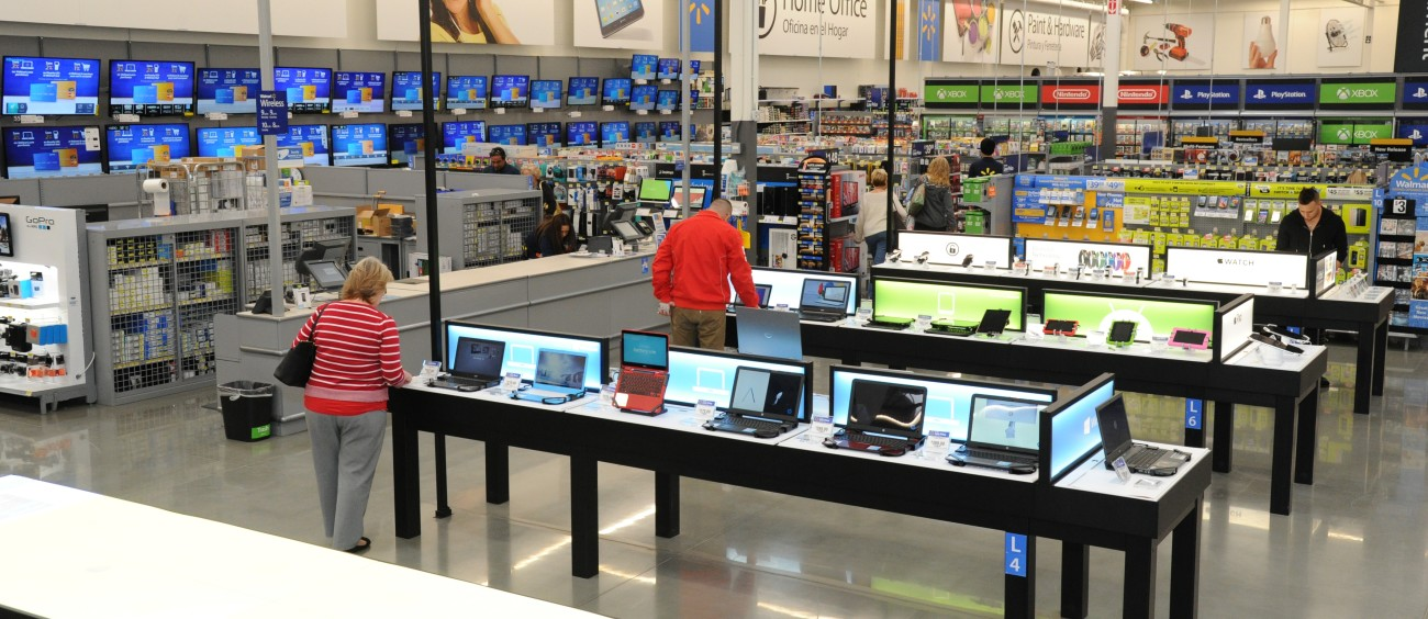 A US Walmart store's electronics section