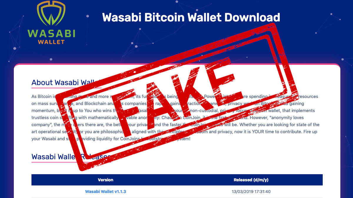 PSA: Don't use this fake Wasabi wallet to 'store' your Bitcoin