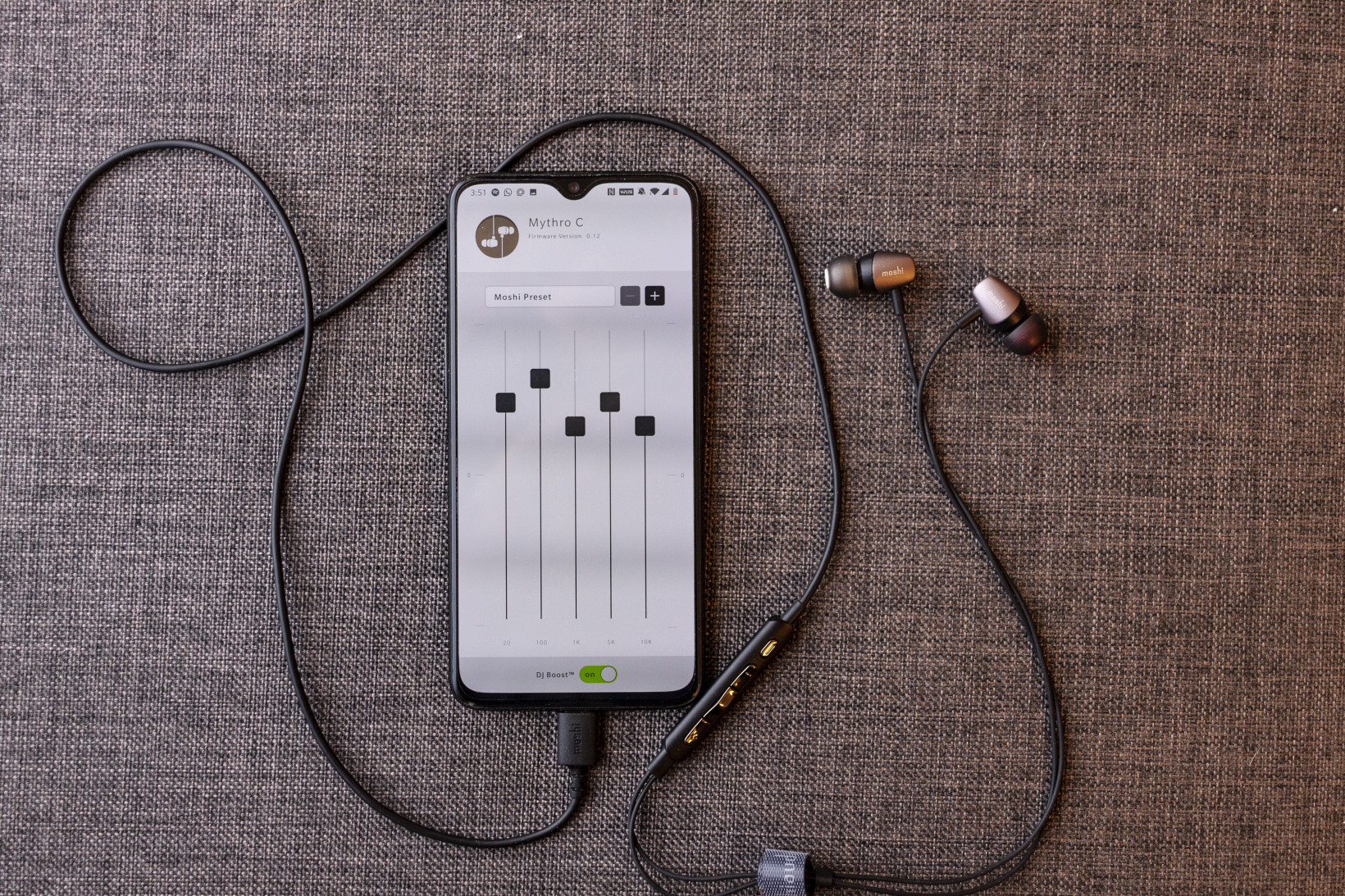 Moshi's Android app lets you customize an EQ setting to use with your Mythro C earphones