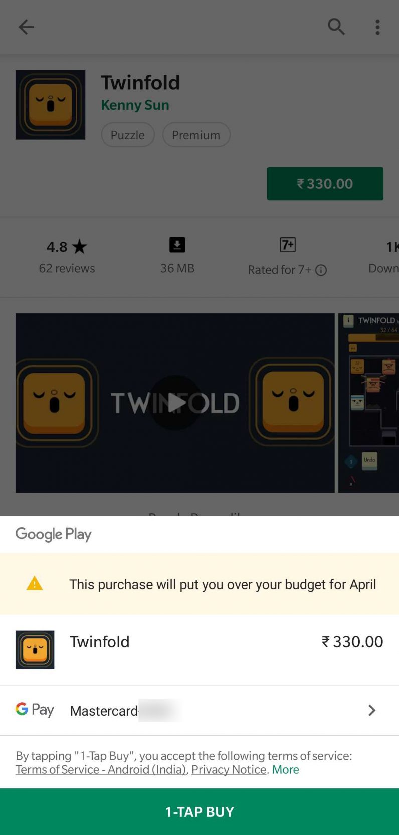 If your purchase exceeds your budget, you'll see a notification like this