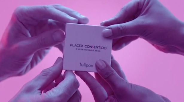 'Consent condom' requires four hands to open package