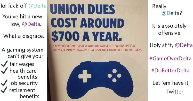 Twitter tears into Delta for its tone-deaf anti-union, pro-video game poster
