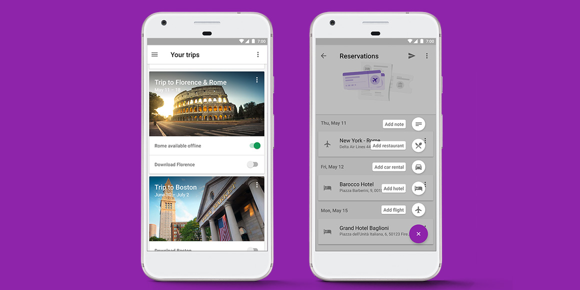 Google Trips presented your travel info in a simple interface and worked offline