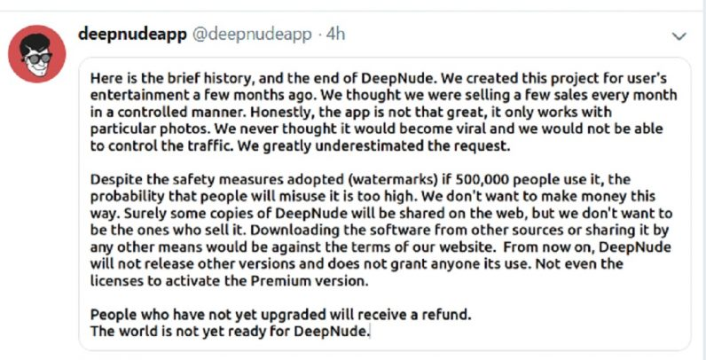 Deepnudes developer shuts it down, but the damage is done
