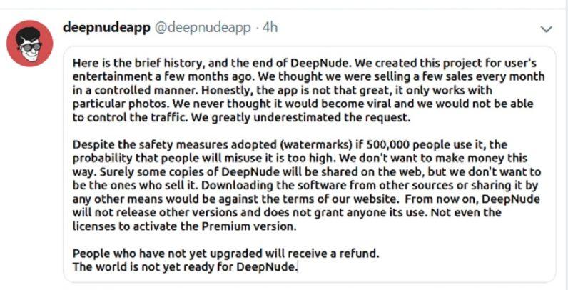 Deepnudes developer shuts it down, but the damage is done