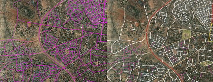 علي اليسار: نتائج تنبؤات نموذج التقسيم لكل بكسل, اللون الأرجواني الساطع يعني احتمال أعلى لوحدة البكسل التي تنتمي إلى الطريق. علي اليمين: خلط بيانات الطرق المتجهة مع الطرق الحالية