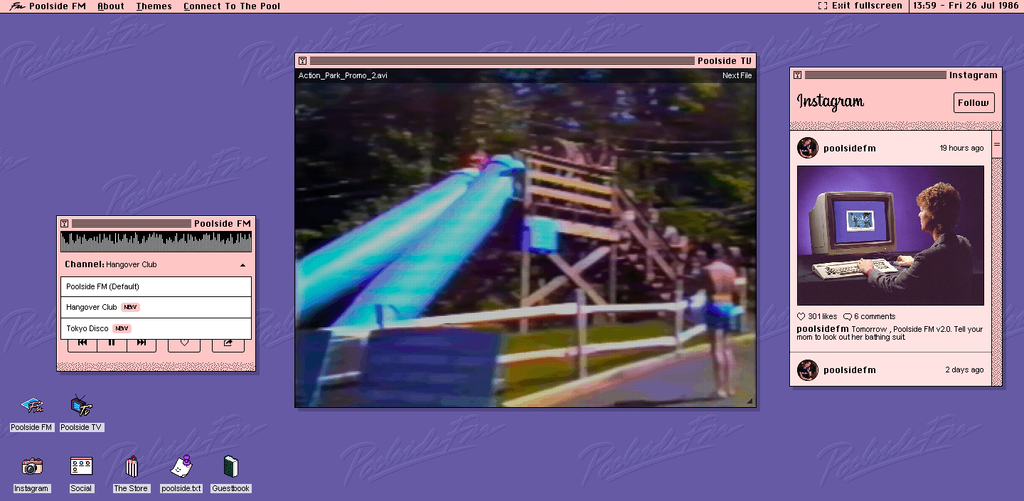This retro-styled OS is actually a feed of 90s-inspired