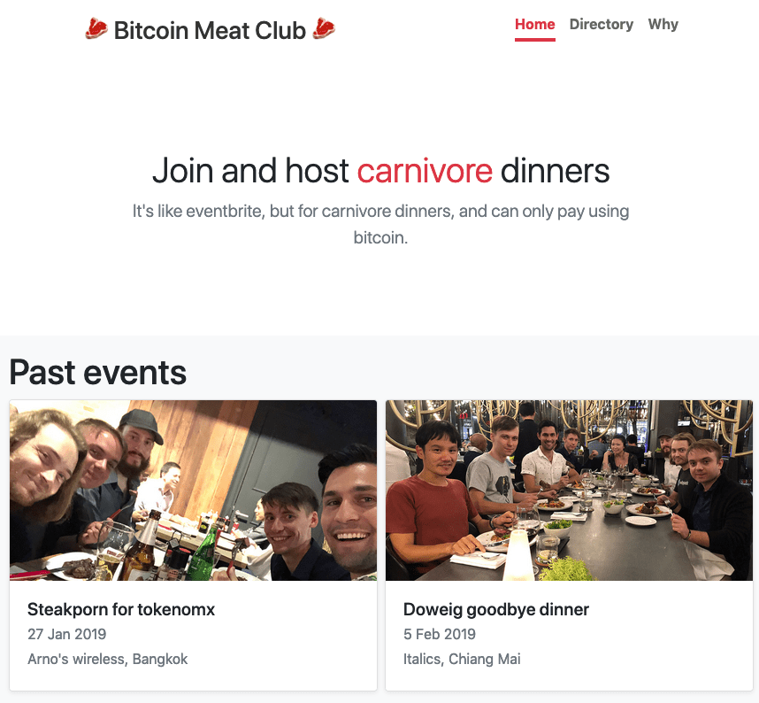 Lightning app, bitcoin, meat club, meatup