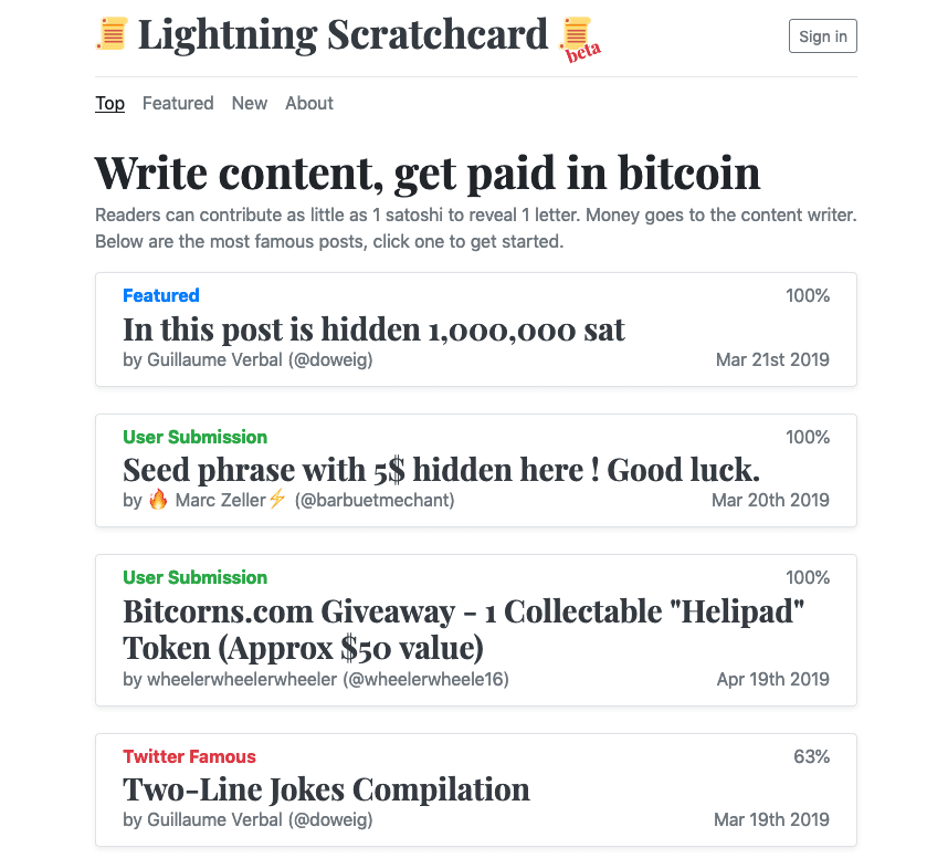 Lightning apps, scratchcard, lightning, bitcoin