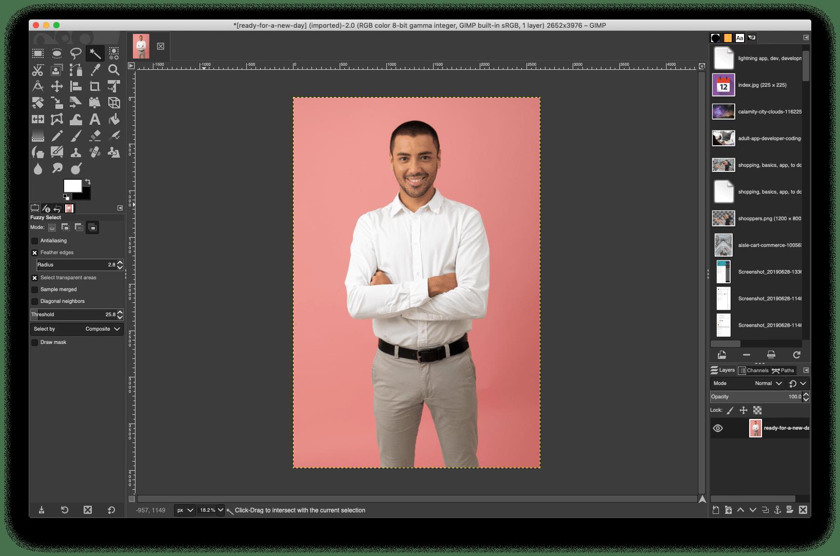 GIMP, image, background, remove