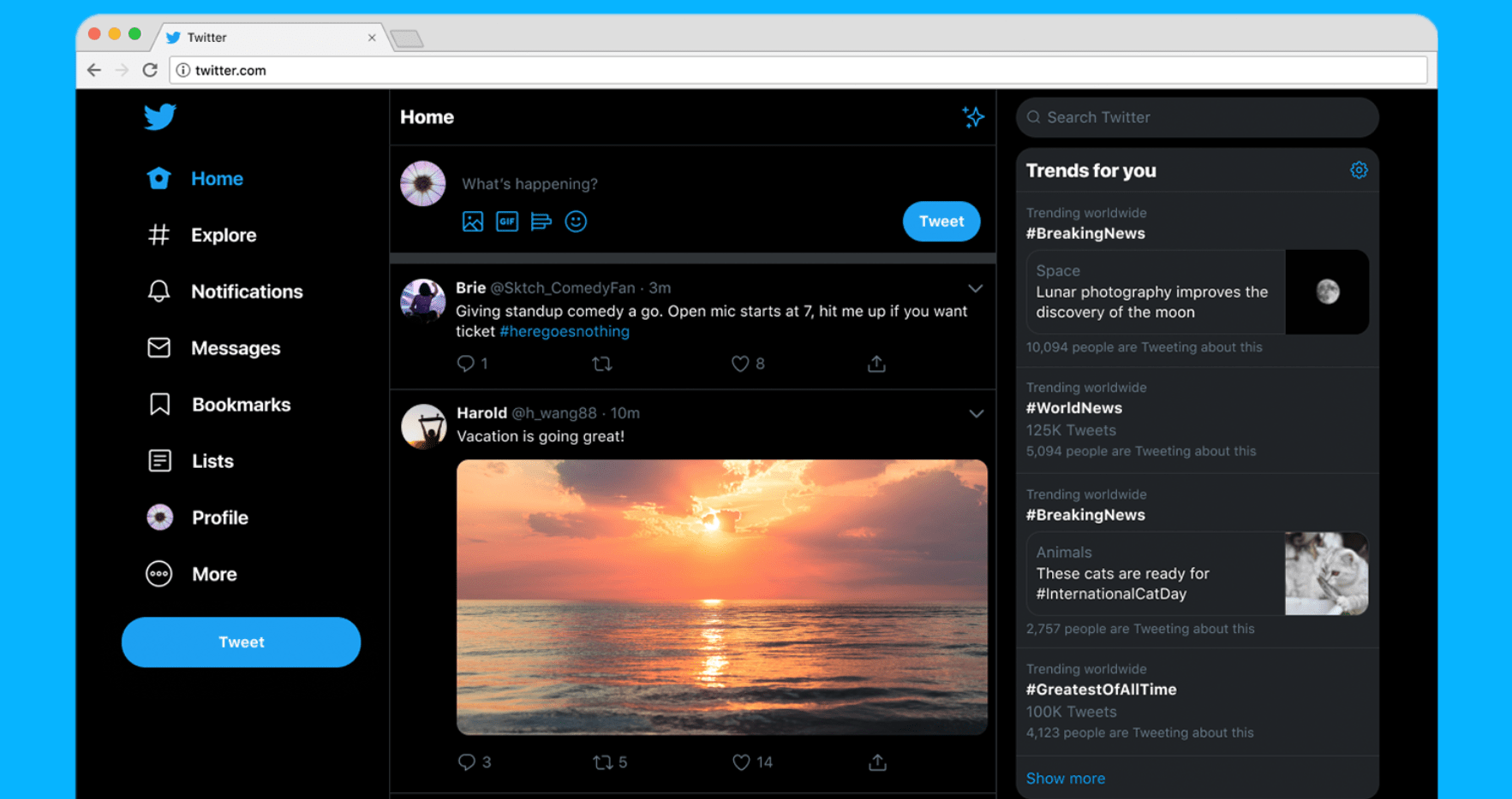 Twitter's website has faster, cleaner look, including new color themes