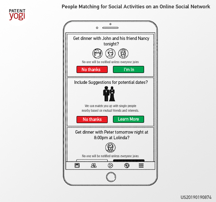 US20190190874 describes how Facebook could operate as a matchmaker
