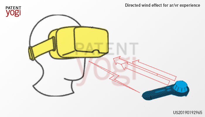 US20190192965 describes how VR tech could add another dimension to immersive experiences