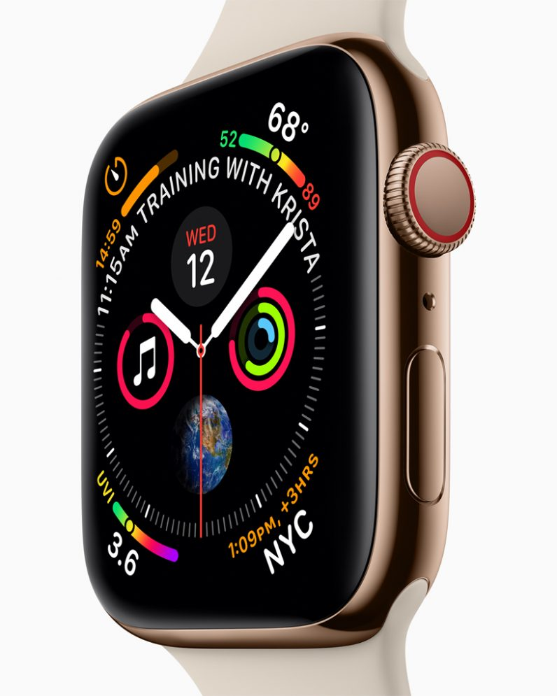 apple watch series 4 face from the side
