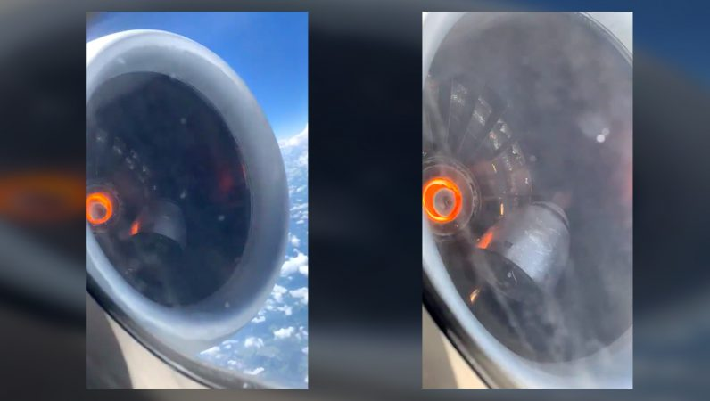 Plane's 'spinner' filmed bouncing around in engine before emergency landing
