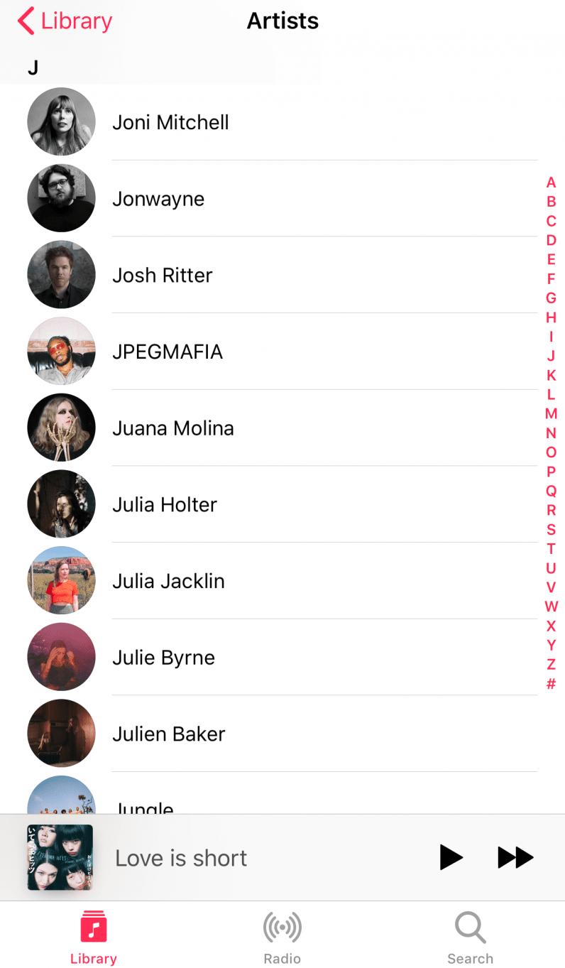 Apple Music artists list