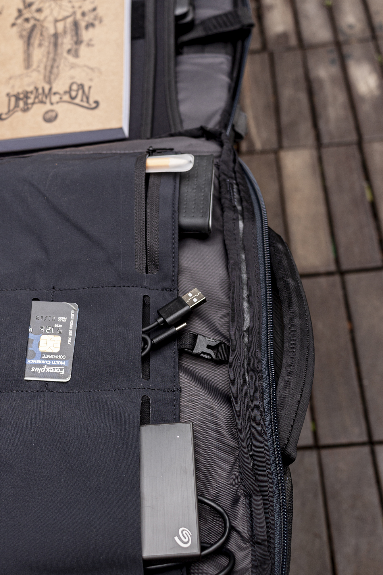 The Daily has plenty of pockets and sections to store gadgets of various sizes