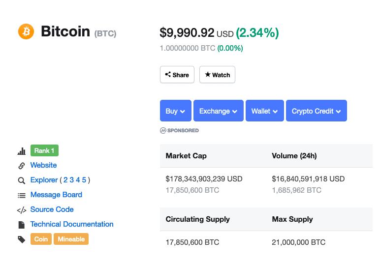 Bitcoin circulating supply coinmarketcap screenshot