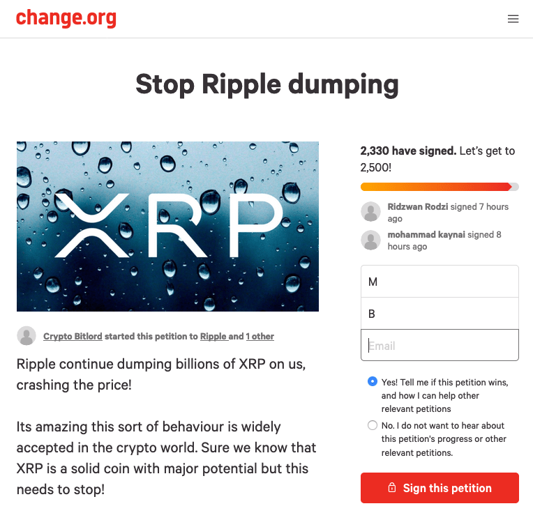 ripple, xrp, petition, change.org, cryptocurrency