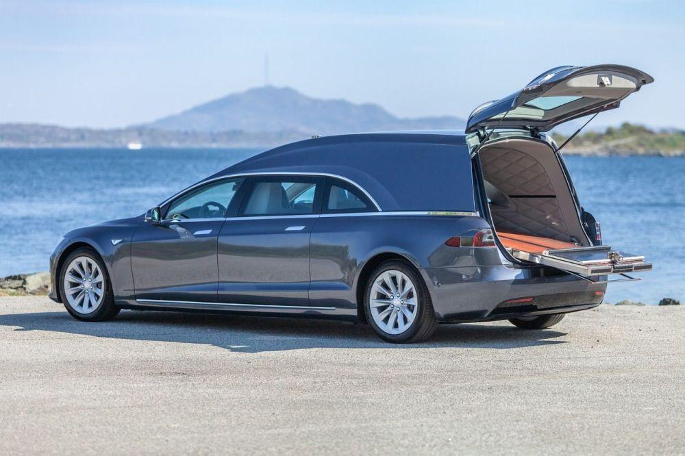 Tesla, hearse, car