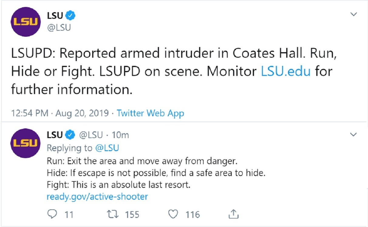 "Breaking: Louisiana State University Twitter warns of armed intruder, tells students to ""run, hide, or fight"""