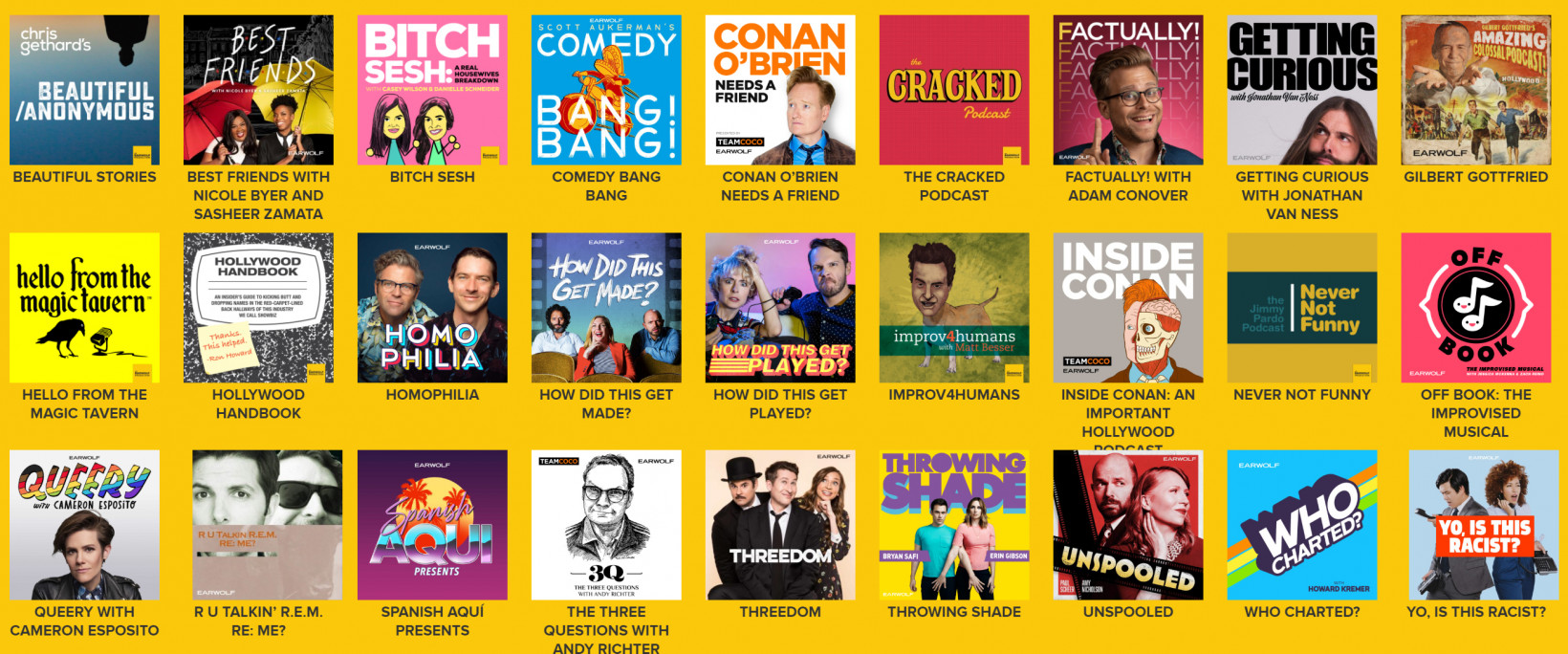 A selection of Earwolf's podcasts