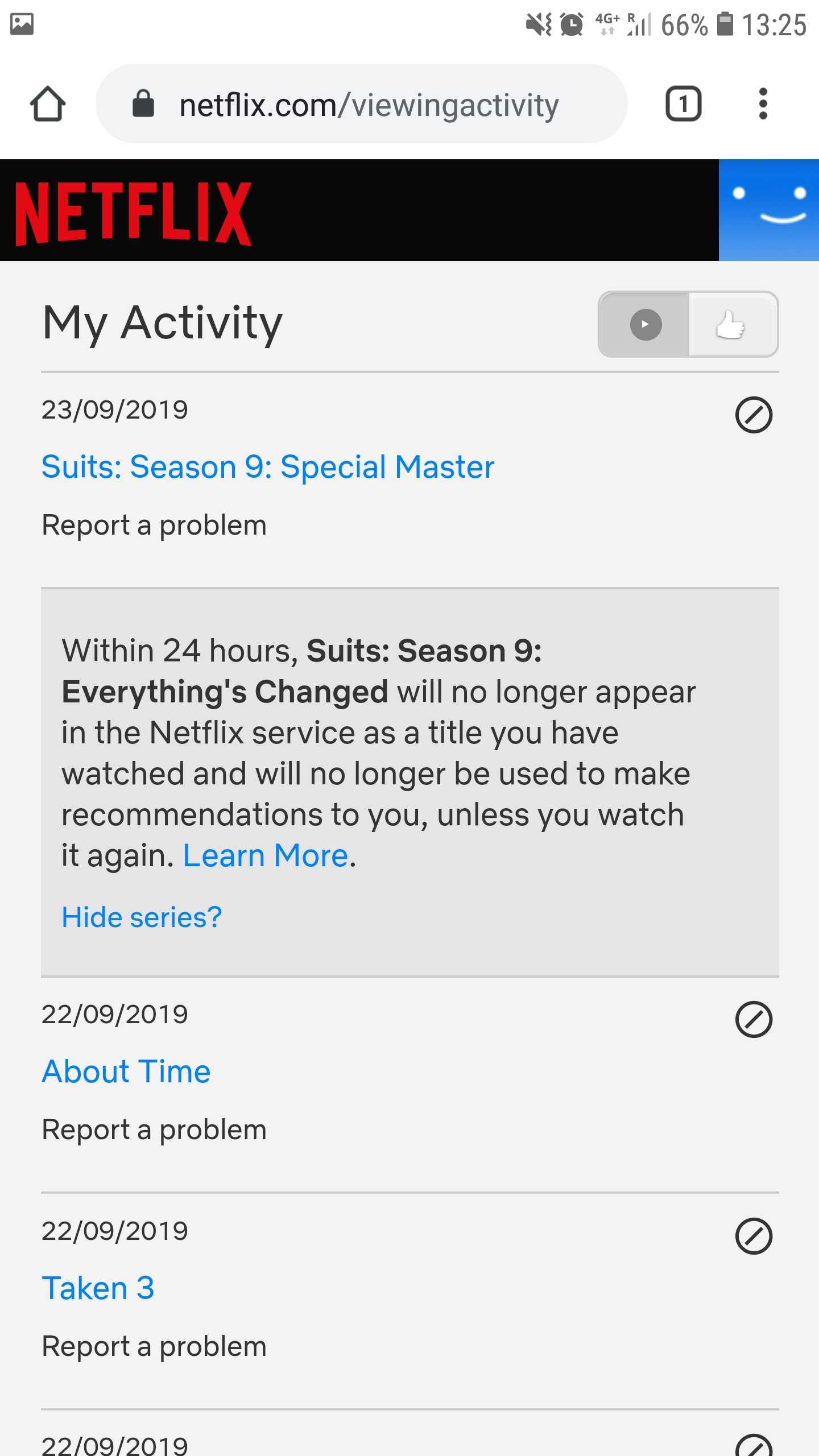 viewing history, Netflix