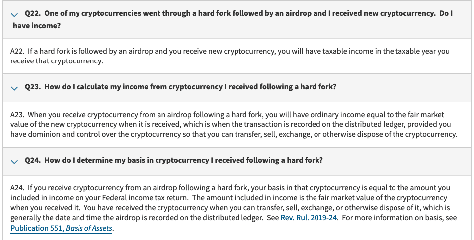 hard fork, air drop, IRS rules, cryptocurrency