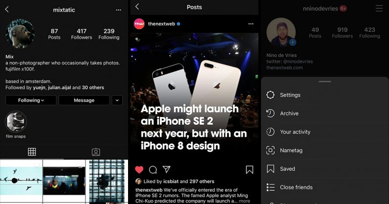 instagram, dark mode, ios 13, iphone
