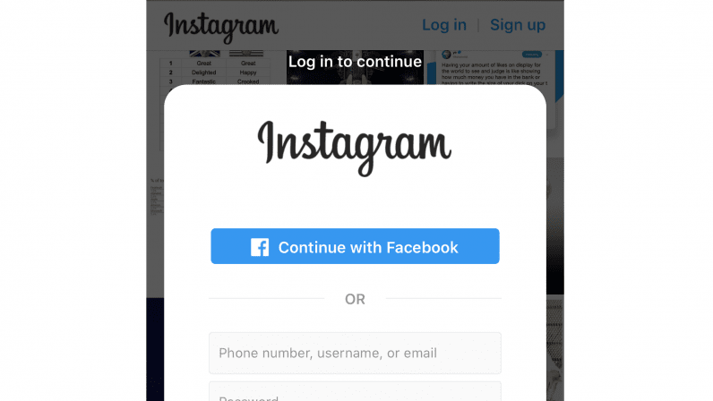 Facebook-Instagram Login interfaccia