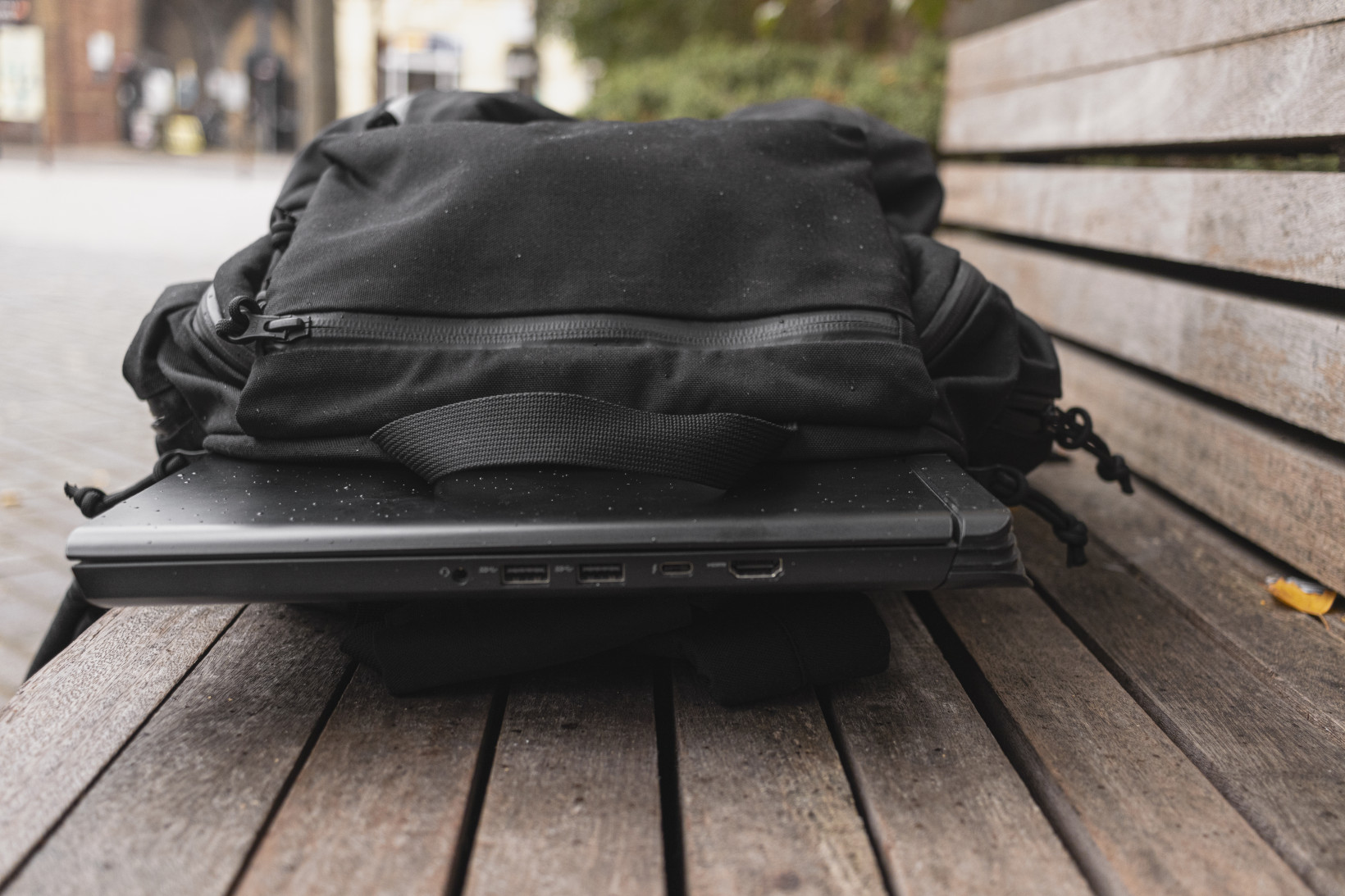 The A model backpack fits a hefty gaming laptop
