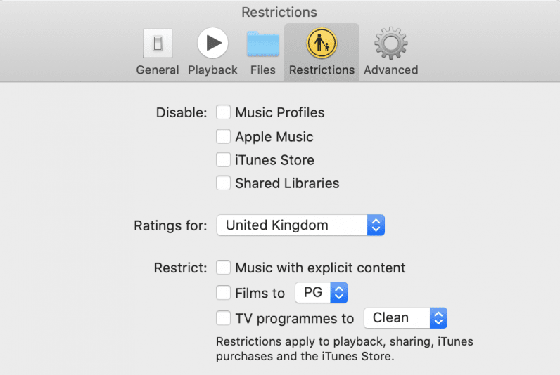 Apple Music app restrictions