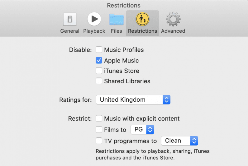 macOS music app restricted apple music