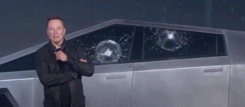 elon musk broken cybertruck window