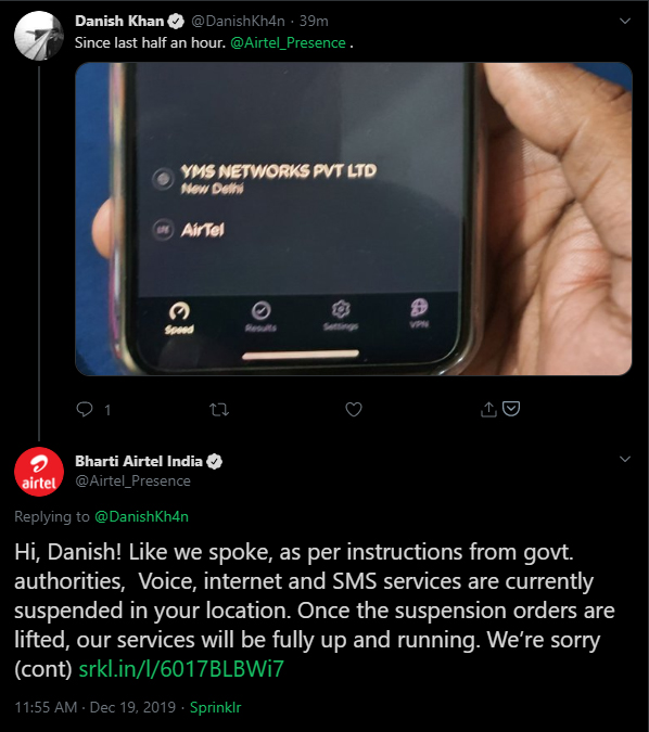 Airtel's now-deleted tweet noting that the Indian government ordered mobile internet services to be suspended