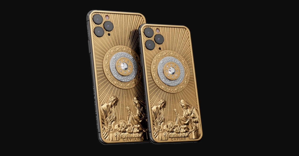 This gold-and-diamond-encrusted Jesus phone is the absolute most