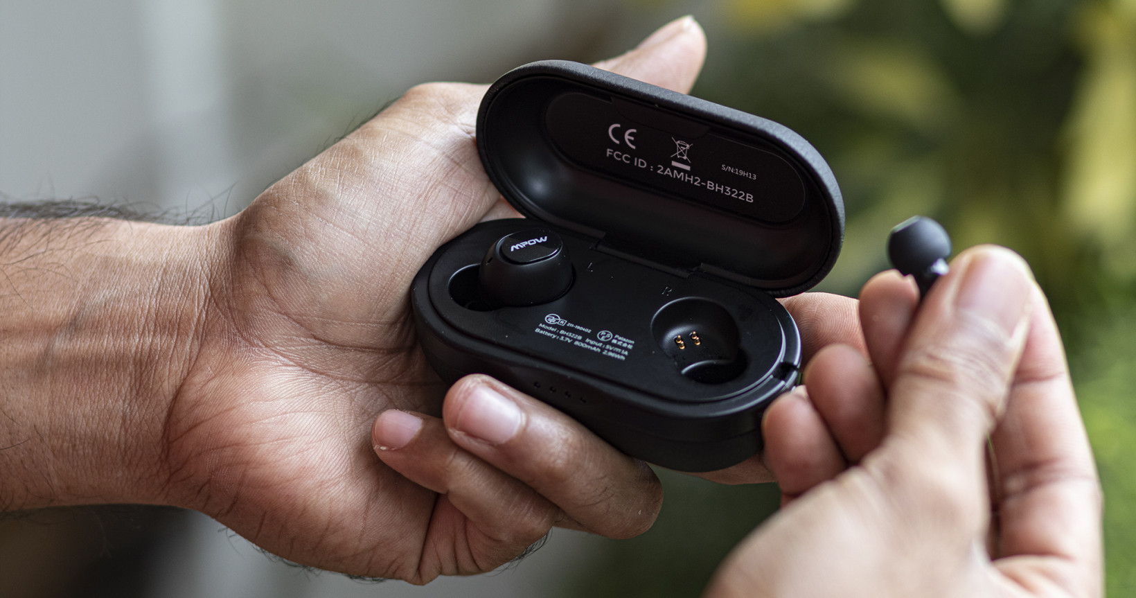 Mpow's M5 earbuds are ultra-light and comfortable, and the case is compact too
