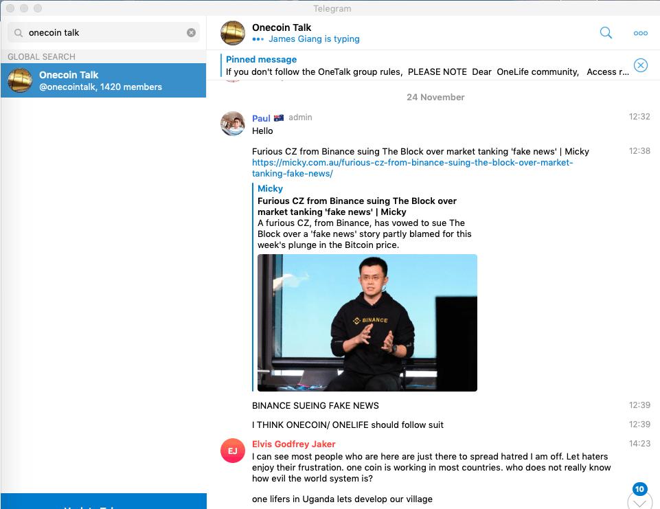 onecoin, talk, telegram