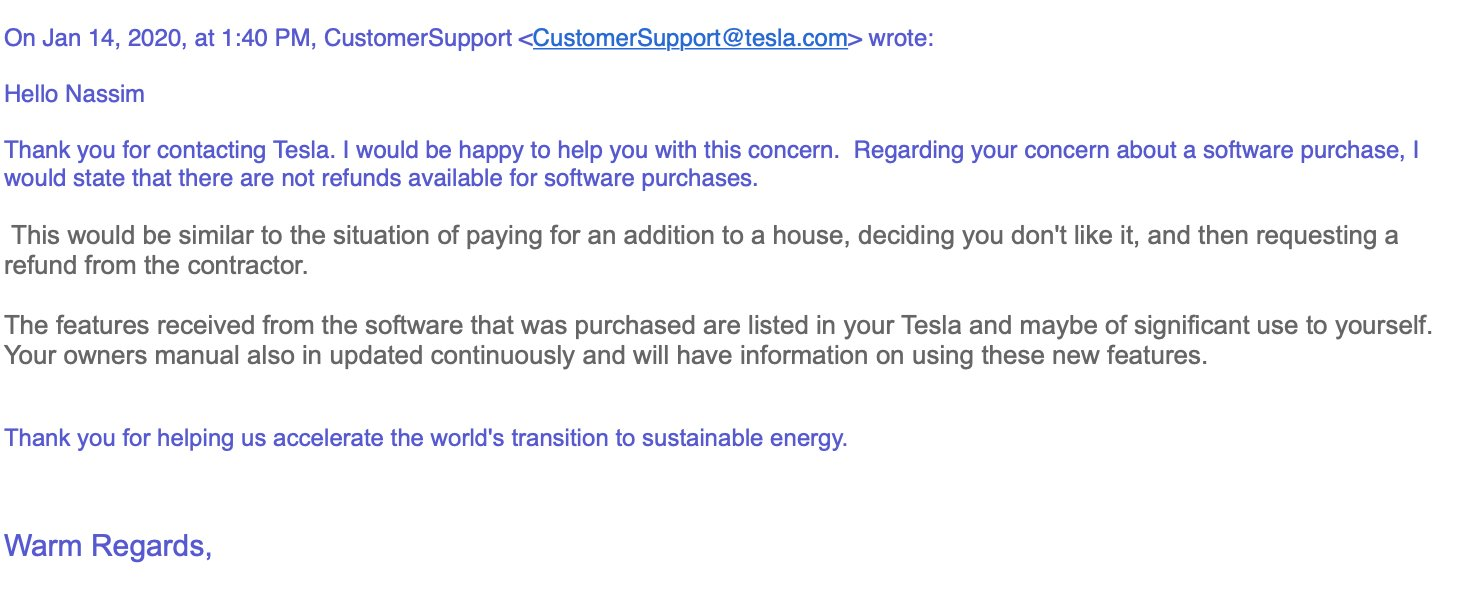 Taleb, Tesla, customer service, car, service, OTA