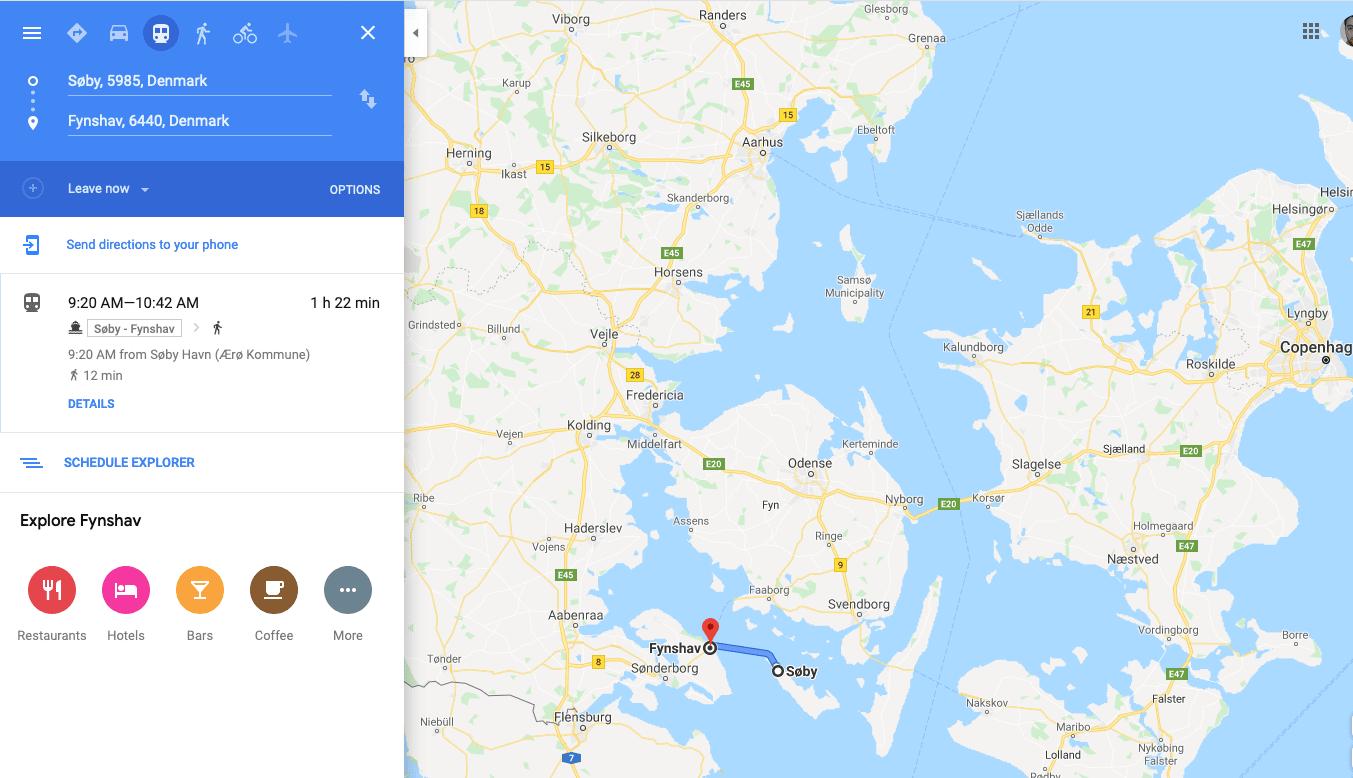 Google map, ferry, trip, ellen, fynshav
