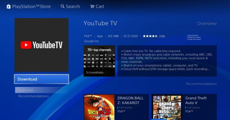 YouTube TV just debuted on the PS4, replacing Vue