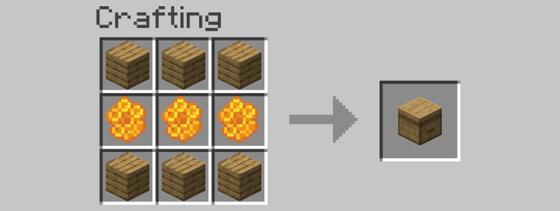 Crafting a bee hive in Minecraft