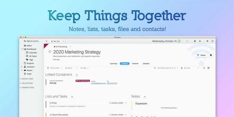 Pagico 9 brings all your tasks and files together to simplify your life. And it's only $25.